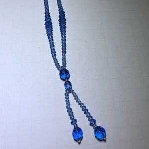 Vintage blue crystal beaded necklace